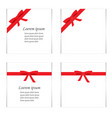 flat set of cards with red gift bows with ribbons vector image vector image