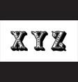 folk alphabet ornamental floral letter x y z vector image