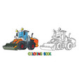 funny constuction tractor with eyes coloring book vector image vector image