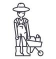 gardener man with wheelbarrow line icon vector image