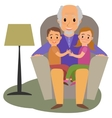grandchildrens and granddad on the sofa vector image