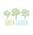 Green tree design element in hand drawn relaxed vector image vector image
