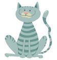 happy tabby cat cartoon animal character vector image vector image