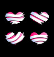 hearts with ribbon banners 2 vector image