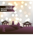 Landscape of winter night with houses and firs vector image vector image