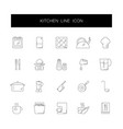 line icons set kitchen pack vector image