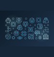machine learning horizontal blue banner vector image