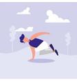 man dancing break dance in landscape avatar vector image