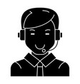 man with headset icon black vector image