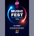 music fest poster template show exhibition vector image vector image