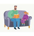 parent reading book to his girl childs education vector image vector image
