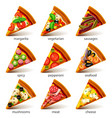 pizza slices icons set vector image vector image