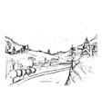 rough draft small georgian town street vector image vector image