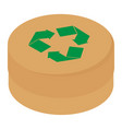 round cardboard box with green recycle symbol vector image vector image