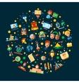 school college flat design icons vector image vector image
