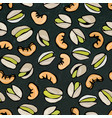 Seamless with shelled pistachio and cashew nuts vector image