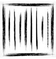 set grunge line brush strokes vector image