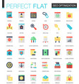 set of flat seo optimization icons vector image vector image