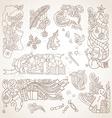 set of sepia hand-drawn Christmas ornaments vector image