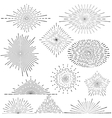 Set of vintage handdrawn sunbursts in different vector image vector image