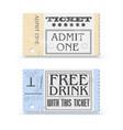 set retro cinema tickets or event shape vector image