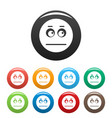 smile icons set collection circle vector image