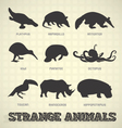 Strange and Odd Animal Silhouettes vector image