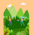 team people playing tennis outdoors in park vector image vector image