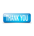 thank you blue square 3d realistic isolated web vector image vector image