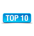 Top 10 blue 3d realistic square isolated button vector image vector image