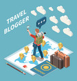 travel blogger isometric concept vector image