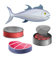 tuna icon set cartoon style vector image
