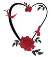 valentine frame with roses and hummingbird vector image vector image