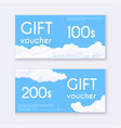 voucher template with clouds gift boxcertificate vector image