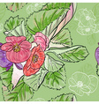 Green Seamless Floral Background with Begonias vector image