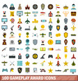 100 gameplay award icons set flat style vector image vector image