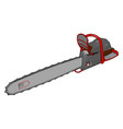 3d a grey and red chain saw white background vector image