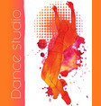 a dancing girl with watercolor blots vector image vector image