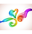 abstract color wave and heart vector image vector image