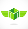 abstract cube wing box logo vector image vector image