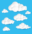 abstract paper clouds on white background vector image vector image