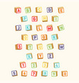 Alphabet with numbers childish font colorful toy