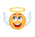 angel emoticon on a white background vector image