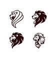 angry lion head black and white logo sign vector image vector image