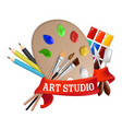 art studio label emblem logo template vector image vector image