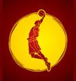 Basketball player dunking