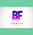 bf b f purple letter logo design with liquid vector image vector image
