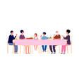 big dinner diverse generations eating together vector image vector image
