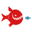 big evil fish and small fish vector image vector image