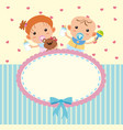 border template with cute boy and girl vector image